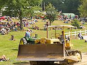 Antique steam tractors (Caterpillar Bulldozer) are on display the Rock River Thresheree near Edgerton, Wisconsin. 2 Sept 2013
