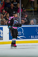 KELOWNA, CANADA - OCTOBER 21: Leif Mattson #28 of the Kelowna Rockets celebrates a goal against the Portland Winterhawks on October 21, 2017 at Prospera Place in Kelowna, British Columbia, Canada.  (Photo by Marissa Baecker/Shoot the Breeze)  *** Local Caption ***