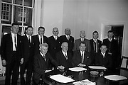 15/2/1966<br /> 2/15/1966<br /> 15 February  1966<br /> <br /> A deputation to the Minister for Agricuture from Irish Academy Managing Assoc. took place at the Dept of Agriculture.<br /> <br /> Picture shows (Front Row L-R)Mr. J Blackwell, Mr. M McGath, Mr D.J. Barry, Mr M, Carsey, (2nd Row L-R) Mr. J. Dineen, Mr. K. Cudney, Mr A.T. Hannon, Mr. J O'Connor and Mr G. O'Sullivian