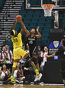 Stanford Cardinal forward Maya Dodson (15) blocks the shot of Oregon Ducks forward Ruthy Hebard (24) in the  first quarter of the championship game of the Pac-12 Conference women's basketball tournament Sunday, Mar. 10, 2019 in Las Vegas.  Stanford defeated Oregon 64-57. (Gerome Wright/Image of Sport)