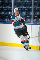 KELOWNA, CANADA - SEPTEMBER 2: Left wing Conner Bruggen-Cate #20 of the Kelowna Rockets warms up against the Victoria Royals on September 2, 2017 at Prospera Place in Kelowna, British Columbia, Canada.  (Photo by Marissa Baecker/Shoot the Breeze)  *** Local Caption ***