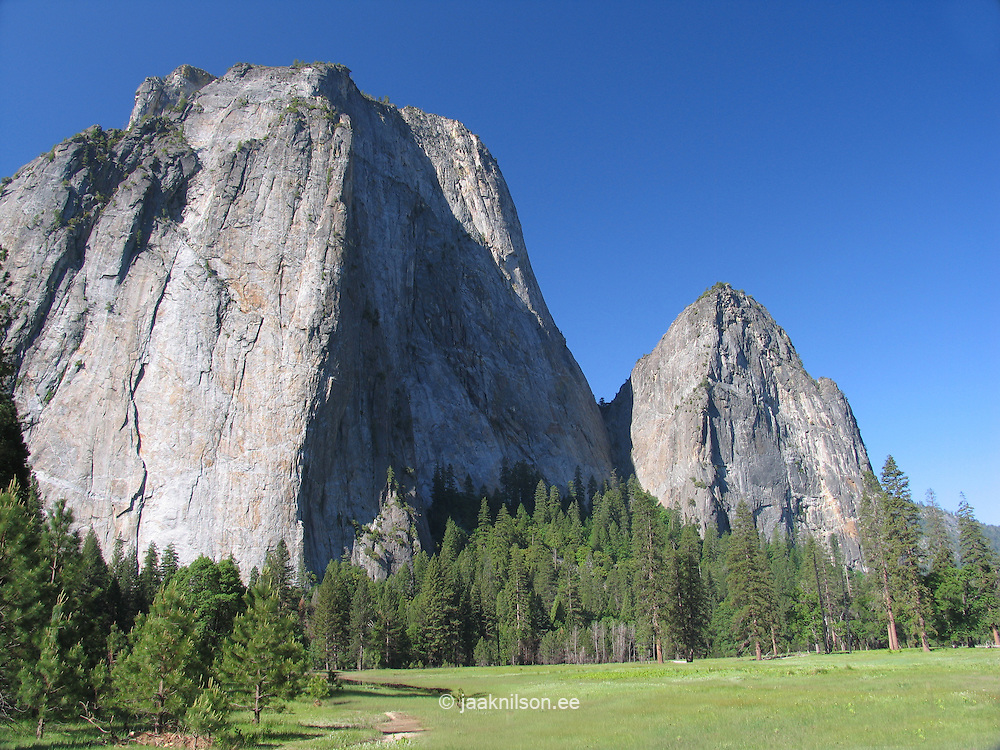 El Capitan and Valley Floor Meadow, Yosemite National Park, Sierra Nevada Mountains, California, USA