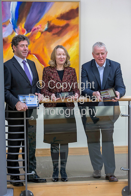 Repro Free No Charge for Repro..13/3/2013.Liam Herlihy, Chairman, Siobhan Talbot, Group Finance Director and John Moloney, Group MD pictured at the announcement of Glanbia's 2012 full year results in Kilkenny..Glanbia also launched a new Investor Relations App available for iPhone iPad and Android devices...Picture Dylan Vaughan