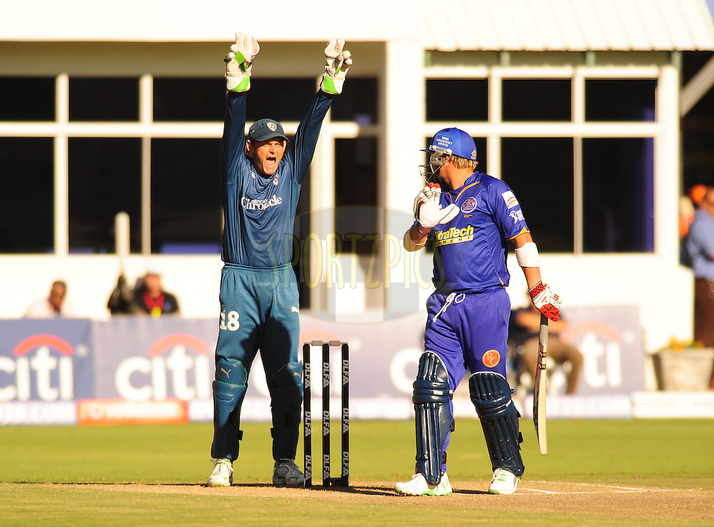 PORT ELIZABETH, SOUTH AFRICA - 2 May 2009.  Gilchrist appeals against Shane Warne during the  IPL Season 2 match between the Deccan chargers vs Rajasthan Royals held at St Georges Park in Port Elizabeth , South Africa.
