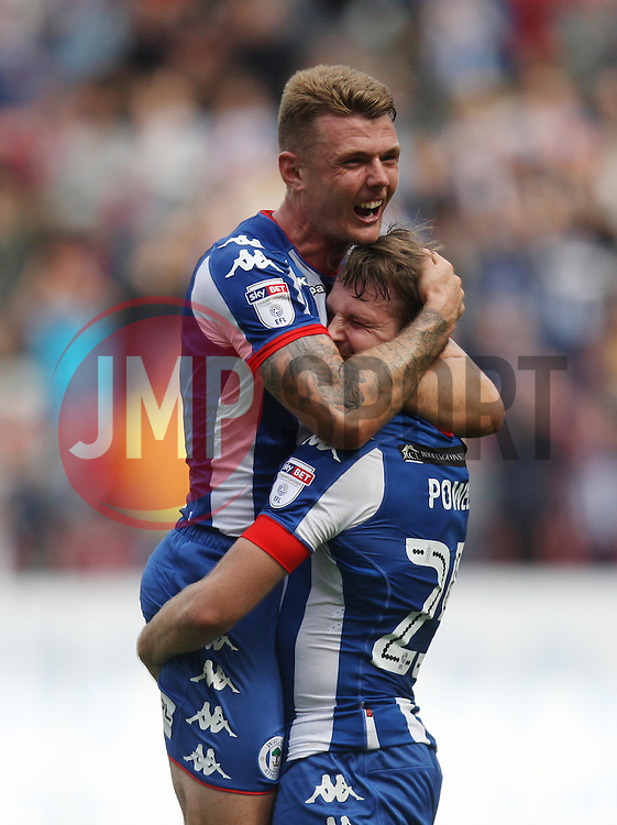 Nick Powell of Wigan Athletic (R) celebrates scoring his sides second goal - Mandatory by-line: Jack Phillips/JMP - 13/08/2016 - FOOTBALL - DW Stadium - Wigan, England - Wigan Athletic v Blackburn Rovers - EFL Sky Bet Championship