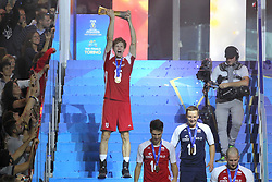 September 30, 2018 - Turin, Piedmont, Italy - Jakub Kochanowski of Poland lift the World Cup after the final match between Brazil and Poland for the FIVB Men's World Championship 2018 at Pala Alpitour in Turin, Italy, on 30 September 2018. Poland won 3: 0 and it is confirmed world champion. (Credit Image: © Massimiliano Ferraro/NurPhoto/ZUMA Press)