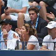 2017 U.S. Open Tennis Tournament - DAY FOUR.  Mirka Federer watching Roger Federer of Switzerland in action against Mikhail Youzhny of Russia during the Men's Singles round two match at the US Open Tennis Tournament at the USTA Billie Jean King National Tennis Center on August 31, 2017 in Flushing, Queens, New York City.  (Photo by Tim Clayton/Corbis via Getty Images)
