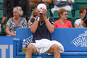 Andreas Seppi (ITA) loses the first set to Steve Johnson (USA) (4-6) then rain stopped play during the semi-finals of Aegon Open at the Nottingham Tennis Centre, Nottingham, United Kingdom on 24 June 2016. Photo by Martin Cole.