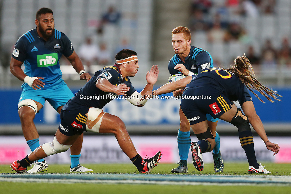Ihaia West of the Blues on the charge. Super Rugby match, Blues v Highlanders at Eden Park, Auckland, New Zealand. 26 February 2016. Photo: Anthony Au-Yeung / www.photosport.nz