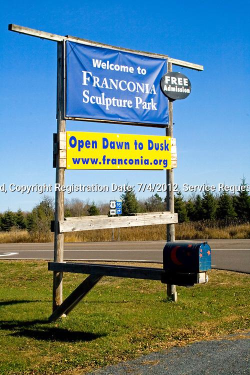 Roadside sign for outside art gallery. Franconia Sculpture Park Franconia Minnesota MN USA