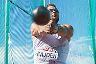 Pawel Fajdek of Poland competes in men's hammer throw final during the Fifth Day of the European Athletics Championships Zurich 2014 at Letzigrund Stadium in Zurich, Switzerland.<br /> <br /> Switzerland, Zurich, August 16, 2014<br /> <br /> Picture also available in RAW (NEF) or TIFF format on special request.<br /> <br /> For editorial use only. Any commercial or promotional use requires permission.<br /> <br /> Photo by © Adam Nurkiewicz / Mediasport