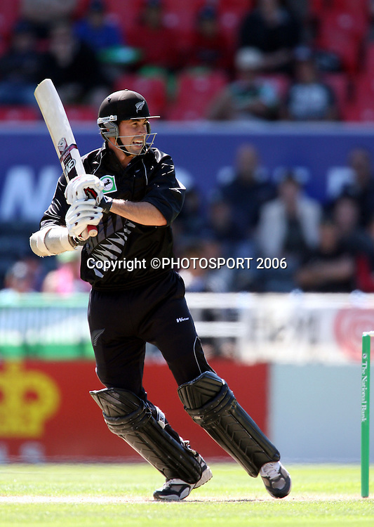 Black Caps captain Stephen Fleming in action during the third ODI cricket match between the Black Caps and West Indies at Jade Stadium, Christchurch, New Zealand, on Saturday 25 February, 2006. New Zealand won the match by 21 runs to win the 5 match series 3-0. Photo: Andrew Cornaga/PHOTOSPORT.<br />