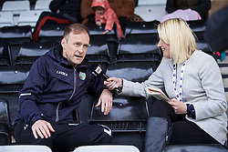 RHOSYMEDRE, WALES - Sunday, May 5, 2019: The New Saints FC's manager Scott Ruscoe is interviewed by Sgorio's Nicky John before the FAW JD Welsh Cup Final at The Rock. (Pic by David Rawcliffe/Propaganda)
