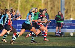 Becki Belcher of Bristol Ladies charges towards the line to score - Mandatory by-line: Paul Knight/JMP - 04/12/2016 - RUGBY - Cleve RFC - Bristol, England - Bristol Ladies v Worcester Valkyries - RFU Women's Premiership