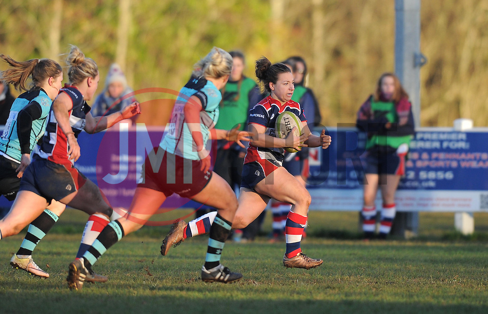 Becki Belcher of Bristol Ladies charges towards the line to score - Mandatory by-line: Paul Knight/JMP - 04/12/2016 - RUGBY - Cleve RFC - Bristol, England - Bristol Ladies v Worcester Valkyries - RFU Women's Premiership