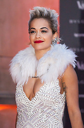 The Glamour of Italian Fashion private dinner at V&A Museum. Rita Ora arrives to the V&A Museum tonight. Museum hosts private dinner in association with the opening of its new exhibition which looks at Italian Fashion from the end of the Second World War to the present day. Victoria & Albert Museum, London, United Kingdom. Tuesday, 1st April 2014. Picture by Daniel Leal-Olivas / i-Images
