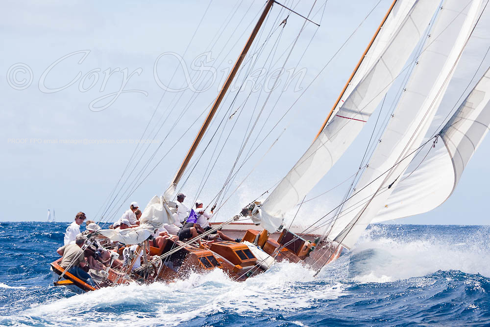 Galatea sailing in the 2010 Antigua Classic Yacht Regatta, Windward Race, day 4.