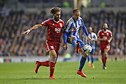 Brighton & Hove Albion centre forward Glenn Murray (17) and Birmingham City defender Ryan Shotton (5) during the EFL Sky Bet Championship match between Brighton and Hove Albion and Birmingham City at the American Express Community Stadium, Brighton and Hove, England on 4 April 2017.