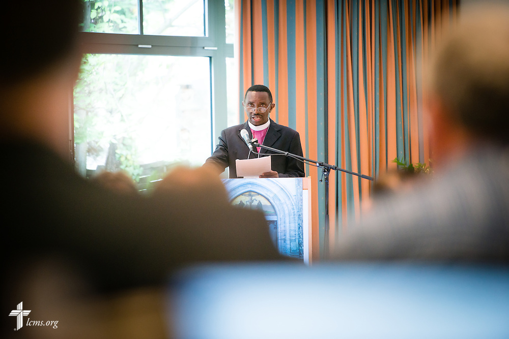 Bishop Emmanuel Makala of the Evangelical Lutheran Church in Tanzania – South-East of Lake Victoria Diocese, presents Thursday, May 7, 2015,  at the International Conference on Confessional Leadership in the 21st Century in Wittenberg, Germany. LCMS Communications/Erik M. Lunsford