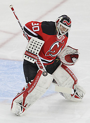 April 24, 2012; Newark, NJ, USA; New Jersey Devils goalie Martin Brodeur (30) makes a save during the first period of  game six of the 2012 Eastern Conference quarterfinals at the Prudential Center.