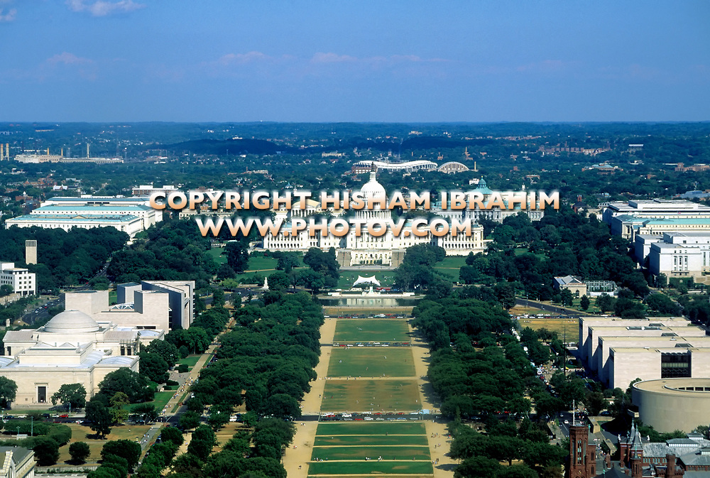 Aerial view of the US Capitol Building, Constitution Avenue, Smithsonian Institution and National Mall, Washington DC, USA.