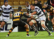 Auckland's Chris Lowrey runs at Willie Ripia.<br /> Air New Zealand Cup rugby match - Taranaki v Auckland at Yarrows Stadium, New Plymouth, New Zealand. Friday 9 October 2009. Photo: Dave Lintott/PHOTOSPORT