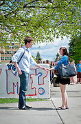 Jake Kelly '13 proposes to girlfriend Ashley Meredith '12 on the Wall.