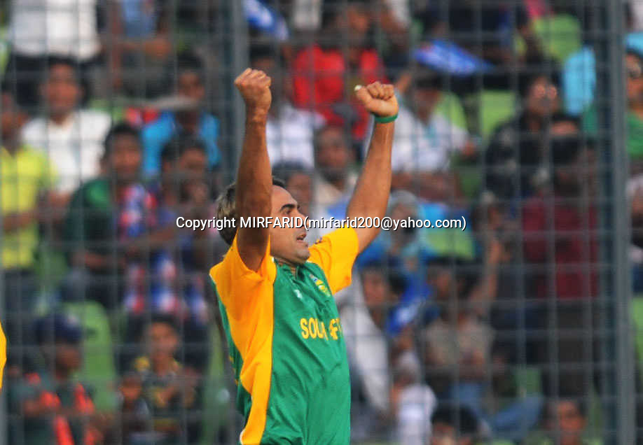 Imran Tahir during the ICC Cricket World Cup quarter final match between South Africa and New Zealand held at the Shere Bangla National Stadium, Mirpur, Bangladesh on the 25 March 2011..Photo by SPORTZPICS