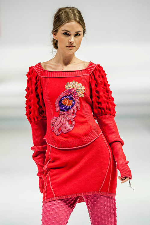 A model presents a creation by Knitwear Symphony show during the first day of the Hong Kong Fashion Week Fall/Winter 2009 on January 12, 2008 in Hong Kong. Photo by Victor Fraile / studioEAST