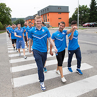 Spartak Trnava v St Johnstone...07.08.14  Europa League Qualifier 3rd Round<br /> Brian Easton, Chris Millar and Dylan Easton lead the way as the players go on pre-game walkabout in Nitra<br /> Picture by Graeme Hart.<br /> Copyright Perthshire Picture Agency<br /> Tel: 01738 623350  Mobile: 07990 594431