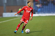 Josh Dacres-Cogley on the ball during the EFL Sky Bet League 2 match between Colchester United and Crawley Town at the JobServe Community Stadium, Colchester, England on 1 January 2020.