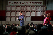 With South Carolina governor Nikki Haley and New Hampshire Senator Kelly Ayotte, Mitt Romney rallies supporters at Pinkerton Academy in Derry; Saturday, January 7, 2012. Several hundred people attended the 8:00am event.<br /> <br /> (Alexander Cohn/ Monitor staff)