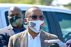 JOHANNESBURG, SOUTH AFRICA - MAY 08: Gauteng Health MEC Dr Bandile Masuku visits a Diepsloot COVID-19 screening and testing site at Diepsloot Sarafina Park on May 08, 2020 in Johannesburg, South Africa. Reports claim that in Diepsloot more than 12 000 people have been screened with over 1000 people tested. The Premier urged the people of Diepsloot to continue practicing safety measures including social distancing and wearing cloth masks when leaving home. (Photo by Dino Lloyd)