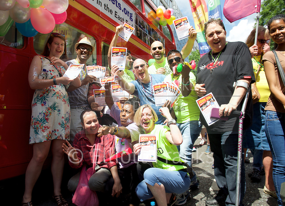 Pride in London 2015 <br /> Gay Pride groups getting ready to march in Pride London Parade in Baker Street, London, Great Britain <br /> 27th June 2015 <br /> <br /> <br /> <br /> Photograph by Elliott Franks <br /> Image licensed to Elliott Franks Photography Services