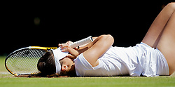 LONDON, ENGLAND - Tuesday, June 29, 2010: Tsvetana Pironkova (BUL)  celebrates after winning the Ladies' Singles Quarter-Final match on day eight of the Wimbledon Lawn Tennis Championships at the All England Lawn Tennis and Croquet Club. (Pic by David Rawcliffe/Propaganda)