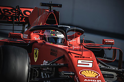 February 18, 2019 - Barcelona, Catalonia, Spain - SEBASTIAN VETTEL (GER) from team Ferrari takes to the track in his in his SF90 during day one of the Formula One winter testing at Circuit de Catalunya (Credit Image: © Matthias OesterleZUMA Wire)