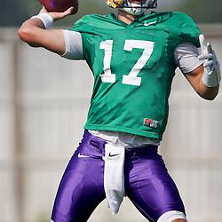 Aug 8, 2013; Baton Rouge, LA, USA; LSU Tigers quarterback Stephen Rivers (17) during a fall practice at the McClendon Practice Facility. Mandatory Credit: Derick E. Hingle-USA TODAY Sports