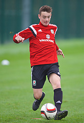 NEWPORT, WALES - Monday, November 2, 2015: Wales' Dylan Levitt during a training session ahead of the Under-16's Victory Shield International match at Dragon Park. (Pic by David Rawcliffe/Propaganda)