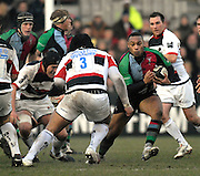 Twickenham, GREAT BRITAIN, Quins, Centre, Jordan TURNER-HALL attacking, during the Guinness Premiership game Harlequins [Quins] vs Saracens at the Stoop, Middx, 22/12/2007  [Mandatory Credit Peter Spurrier/Intersport Images]