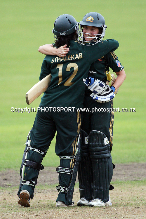 Lisa Sthalekar and Sarah Elliott celebrate the win, New Zealand White Ferns v Australia, Rosebowl cricket series, One day international, Queens Park, Invercargill. 7 March 2010. Photo: William Booth/PHOTOSPORT