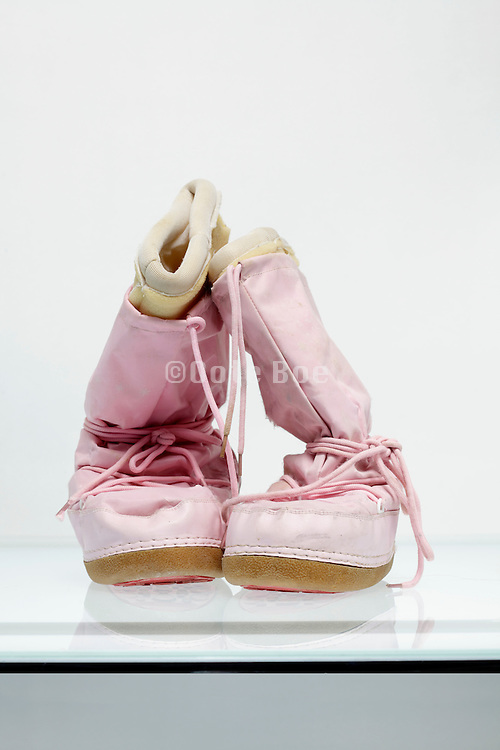 font view of pink winter boots