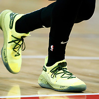 LOS ANGELES, CA - APR 26: Close view of Stephen Curry (30) shoes as he warms up during Game 6 of the Western Conference First Round on April 26, 2019 at the Staples Center, in Los Angeles, California.