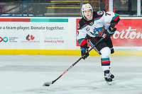 KELOWNA, BC - JANUARY 4: Conner McDonald #7 of the Kelowna Rockets passes the puck against the Vancouver Giants at Prospera Place on January 4, 2020 in Kelowna, Canada. (Photo by Marissa Baecker/Shoot the Breeze)