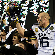 December 08, 2012:  Navy Midshipmen running back Reuben Carson (16) celebrates in the stands with his fellow Midshipmen after defeating Army 17-13  for the 113 edition of the Army-Navy game at Lincoln Financial Field in Philadelphia, PA. (Credit Image: © Kostas Lymperopoulos/Cal Sport Media)