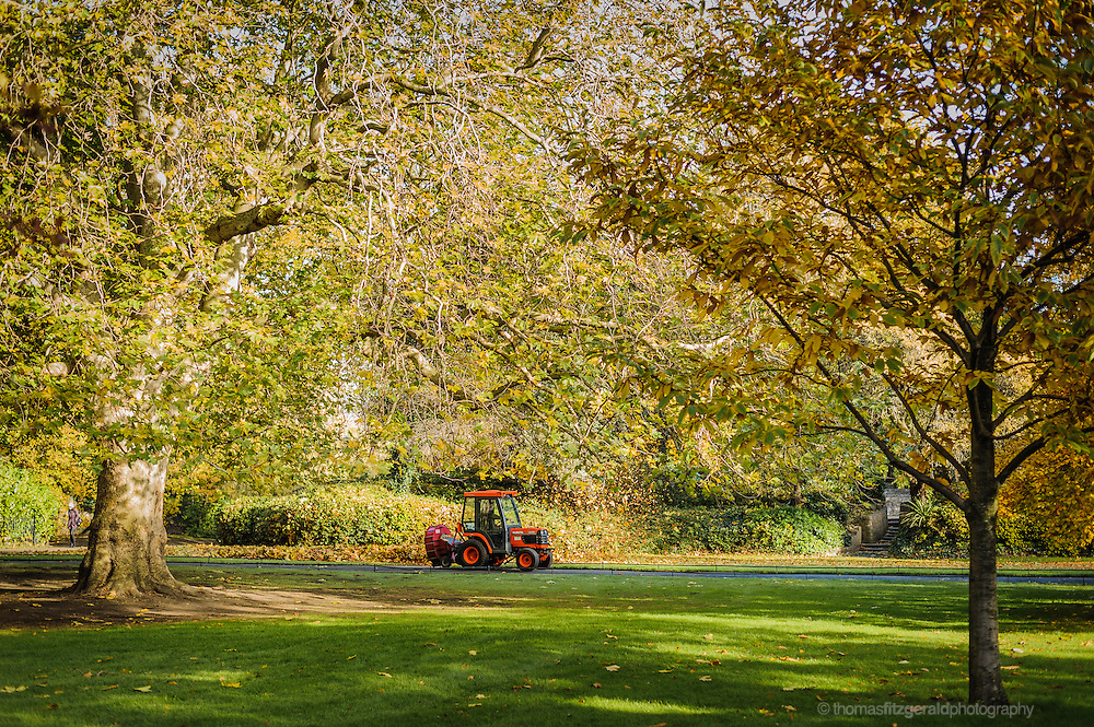 A small tractor cleans up fallen Autumn leaves in Dublin's Stephen's Green PArk
