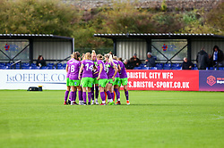 The Bristol City Women huddle prior to kick off of the second half  - Mandatory by-line: Ryan Hiscott/JMP - 14/10/2018 - FOOTBALL - Stoke Gifford Stadium - Bristol, England - Bristol City Women v Birmingham City Women - FA Women's Super League 1