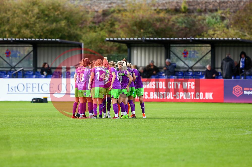 The Bristol City Women huddle prior to kick off of the second half  - Mandatory by-line: Ryan Hiscott/JMP - 14/10/2018 - FOOTBALL - Stoke Gifford Stadium - Bristol, England - Bristol City Women v Birmingham City Women - FA Women's Super League 1