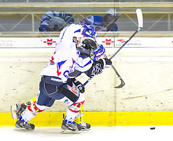19.08.2012, Messestadion, Dornbirn, AUT, Eishockey Testspiel, Dornbirner Eishockey Club vs EV Ravensburg Towerstars, im Bild Zweikampf zwischen Matt Kely, (EV Ravensburg Towerstars #44) und Dale Mitschell, (Dornbirner Eishockey Club, #71) // during a international Icehockey Friendly Match between Dornbirner Icehockey club and EV Ravensburg Towerstars at the Exhibition Stadium, Dornbirn, Austria on 2012/08/19, EXPA Pictures © 2012, PhotoCredit: EXPA/ Peter Rinderer