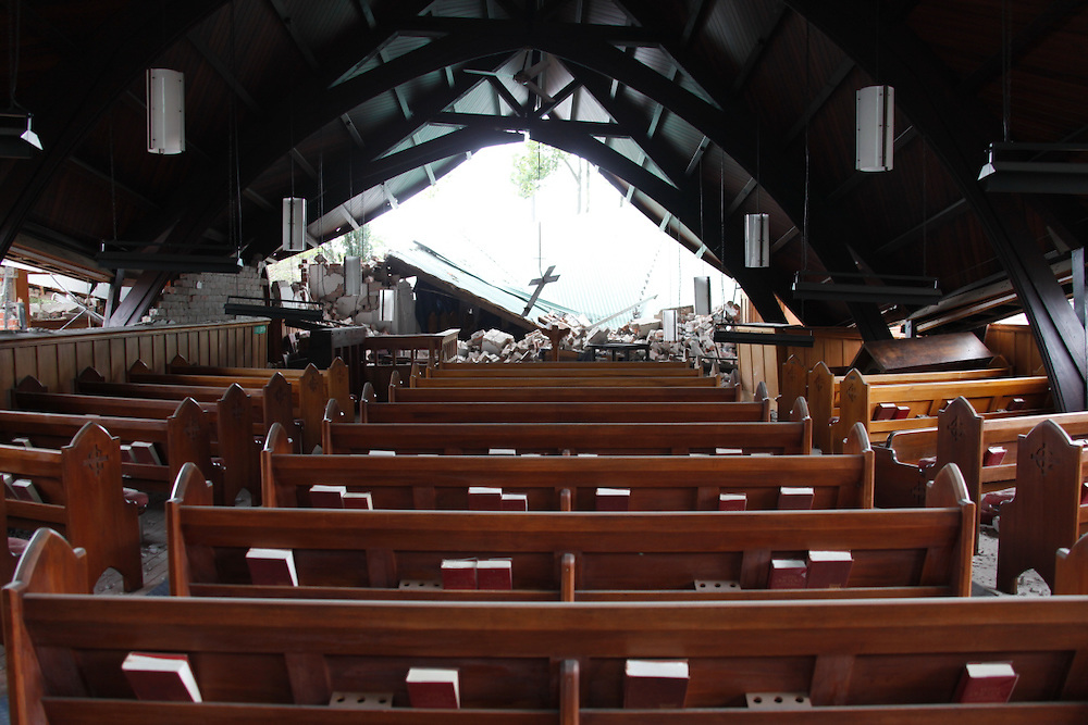 Destruction of Presbyterian Church St.Georges in the suburb of Linwood, Christchurch