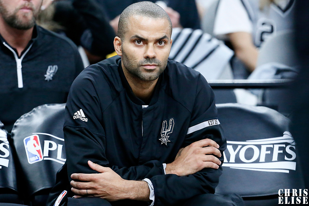 03 May 2017:  San Antonio Spurs guard Tony Parker (9) is seen prior to the San Antonio Spurs 121-96 victory over the Houston Rockets, in game 2 of the Western Conference Semi Finals, at the AT&T Center, San Antonio, Texas, USA.